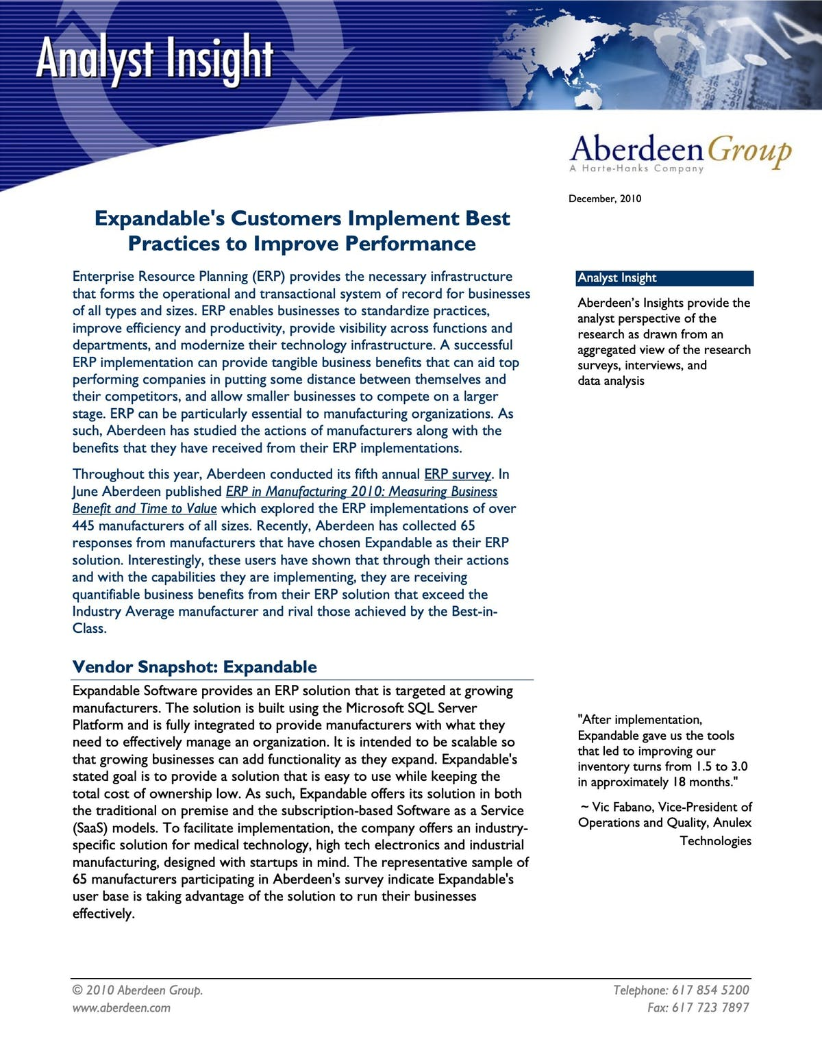 Expandable ERP White Paper - Expandable's Customers Implement Best Practices to Improve Performance