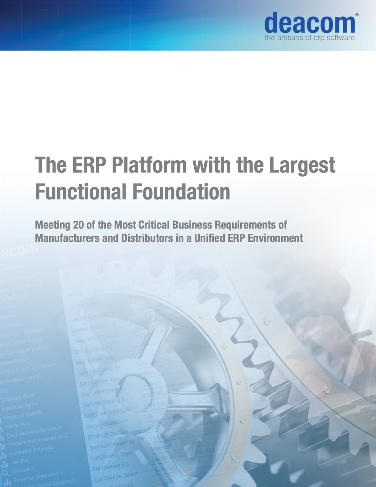DEACOM ERP White Paper - The ERP Platform with the Largest Functional Foundation