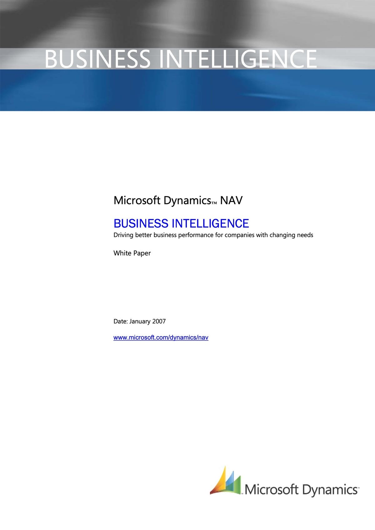 Microsoft Dynamics NAV White Paper - Business Intelligence