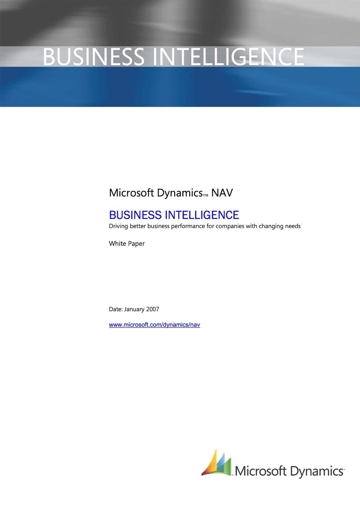 Microsoft Dynamics NAV White Paper - Business Intelligence