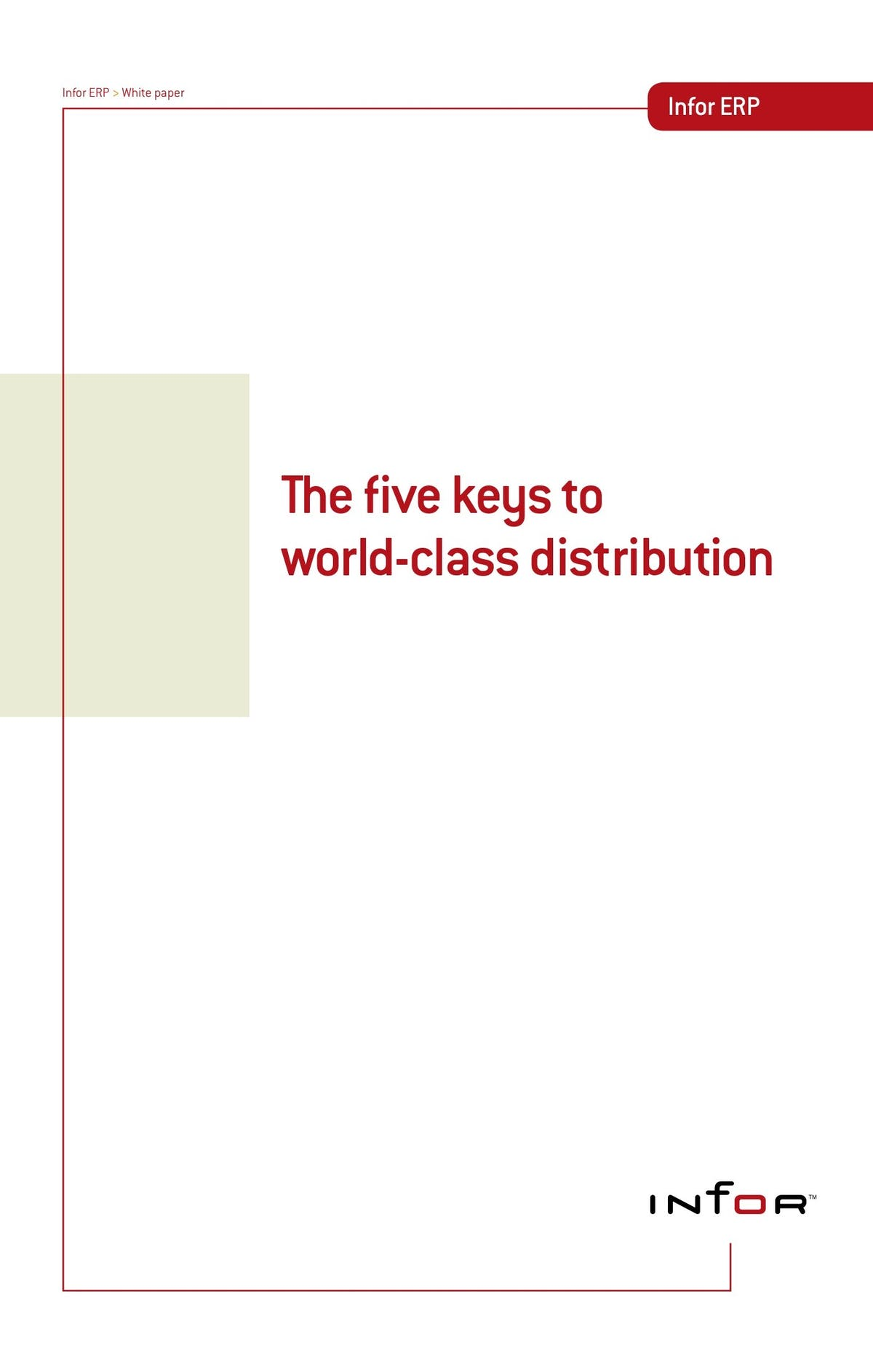 Infor Distribution SX.e White Paper - The Five Keys to World Class Distribution
