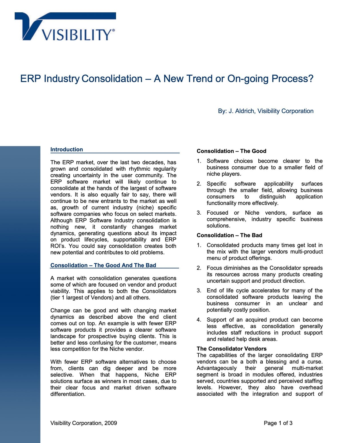 VISIBILITY.net White Paper - ERP Industry Consolidation – a New Trend or On-going Process?