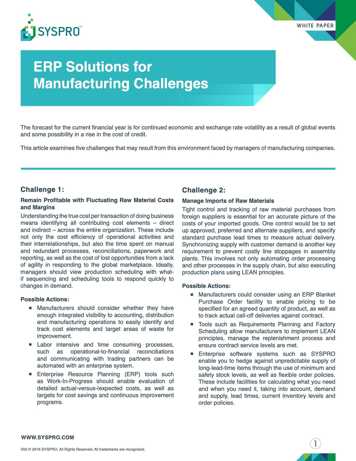 SYSPRO White Paper - ERP Solutions for Manufacturing Challenges