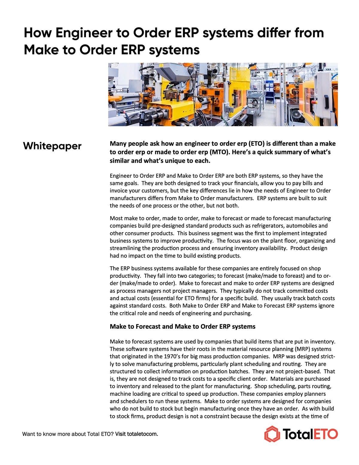 Total ETO White Paper - How Engineer to Order ERP Systems Differ From Make to Order ERP Systems