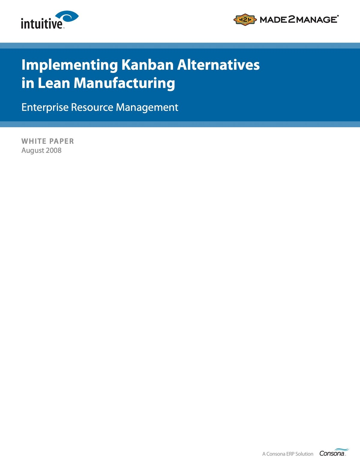 Made2Manage ERP White Paper - Implementing Kanban Alternative in Lean Manufacturing