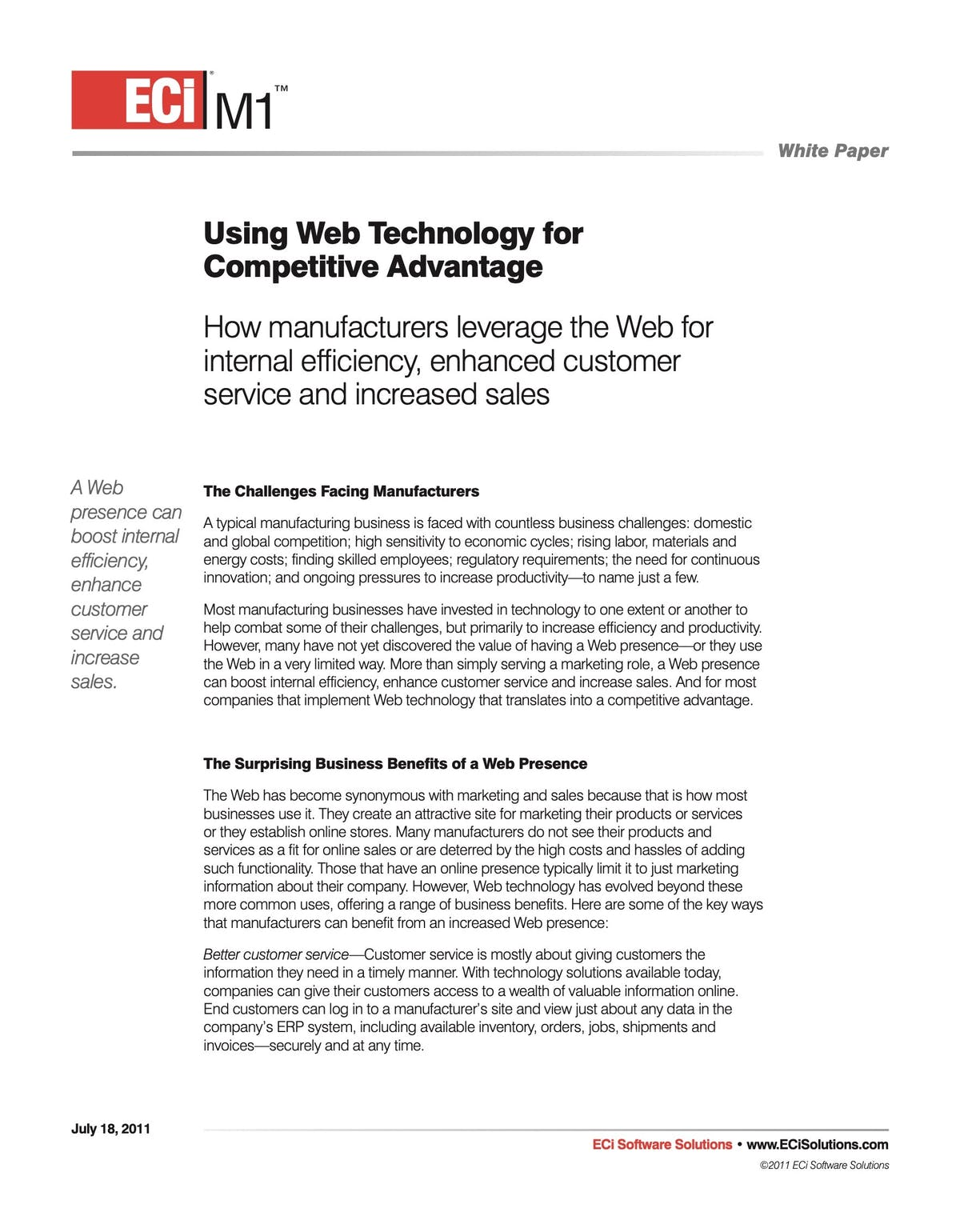 ECi M1 White Paper - Using Web Technology for Competitive Advantage