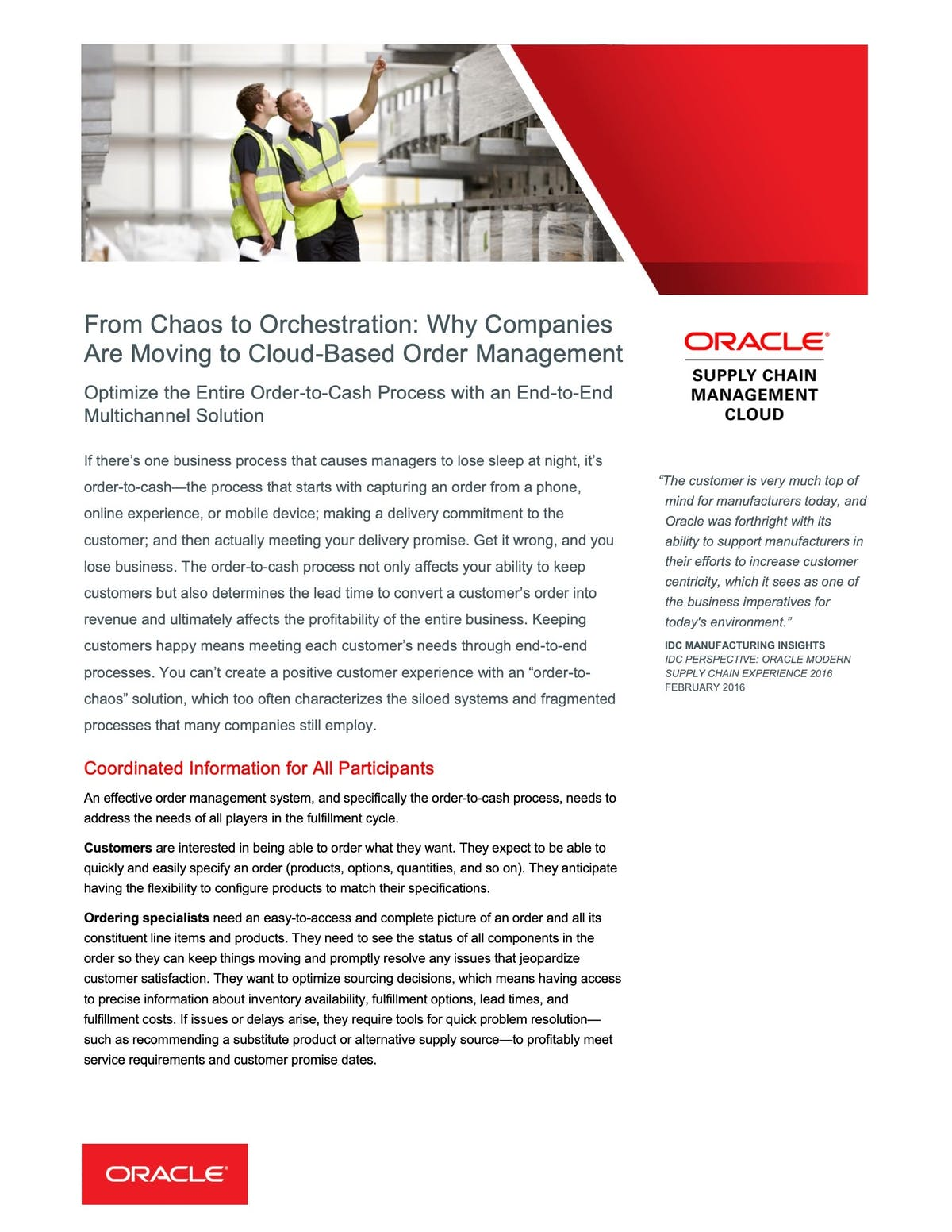 Oracle ERP Cloud Applications White Paper - From Chaos to Orchestration: Why Companies are Moving to Cloud-Based Order Management