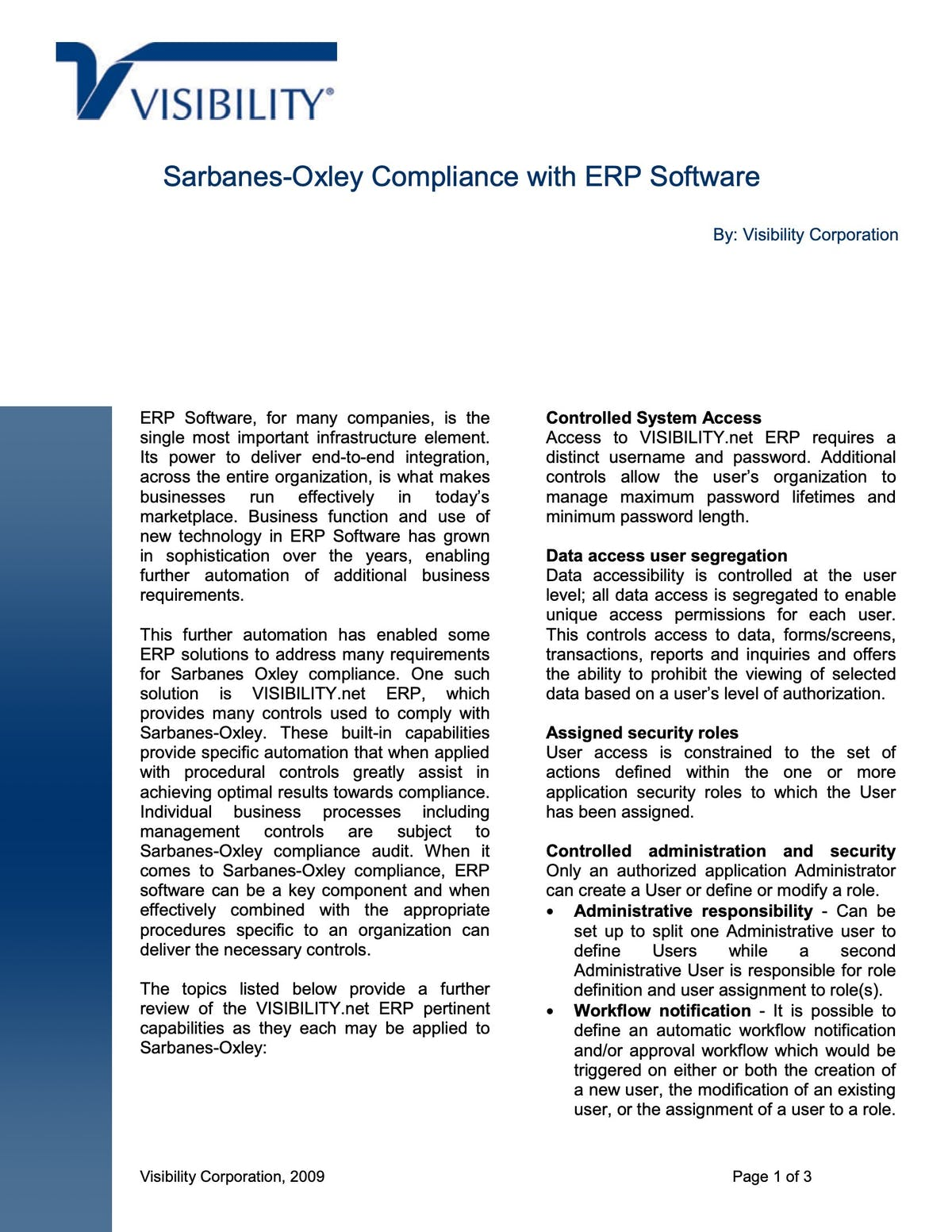 VISIBILITY.net White Paper - Sarbanes-Oxley Compliance with ERP Software