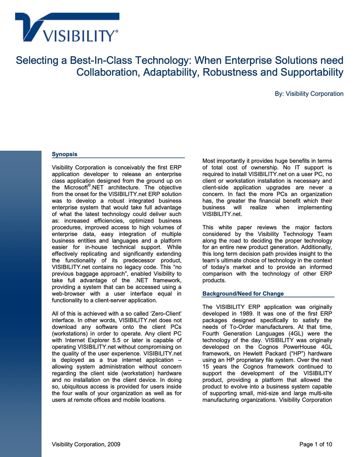 VISIBILITY.net White Paper - Selecting a Best In Class Technology