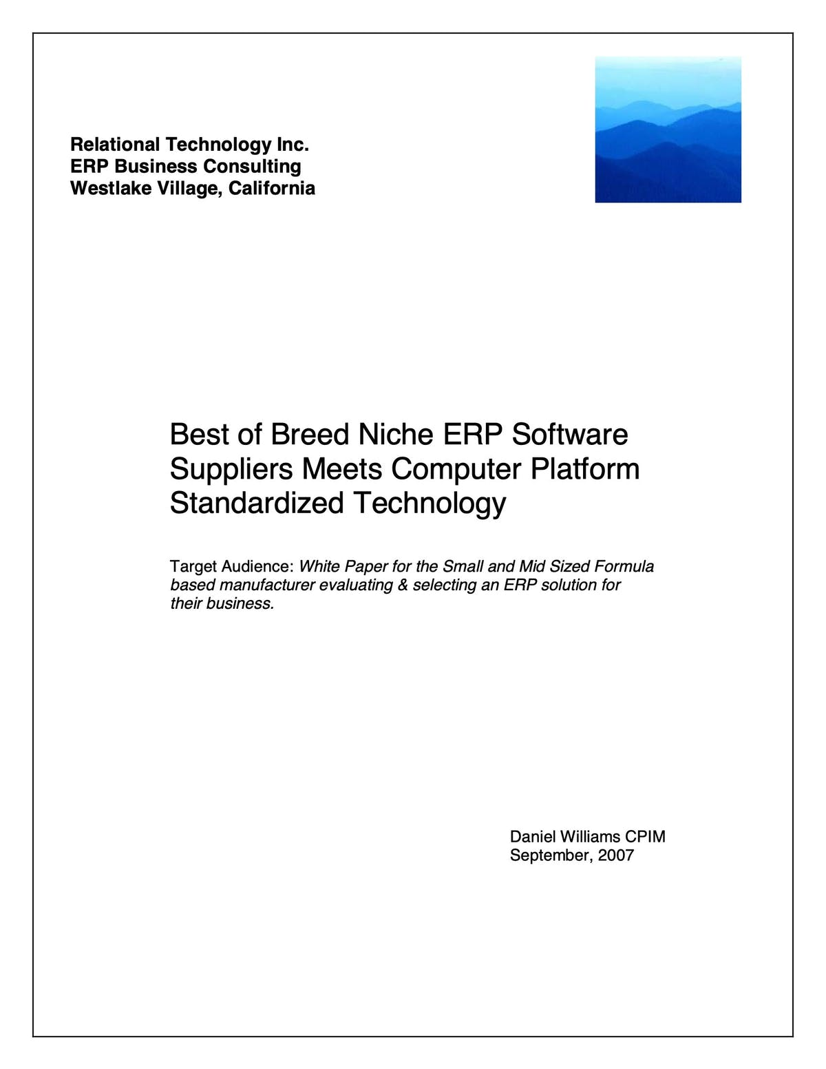 BatchMaster Manufacturing White Paper - Selecting a Formula-Based Manufacturing ERP System