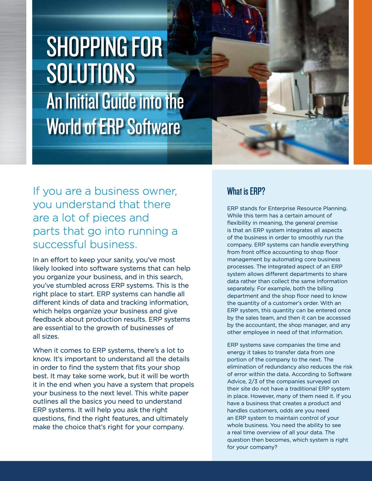 E2 Shop System White Paper - Shopping for Solutions: An Initial Guide into the World of ERP Software
