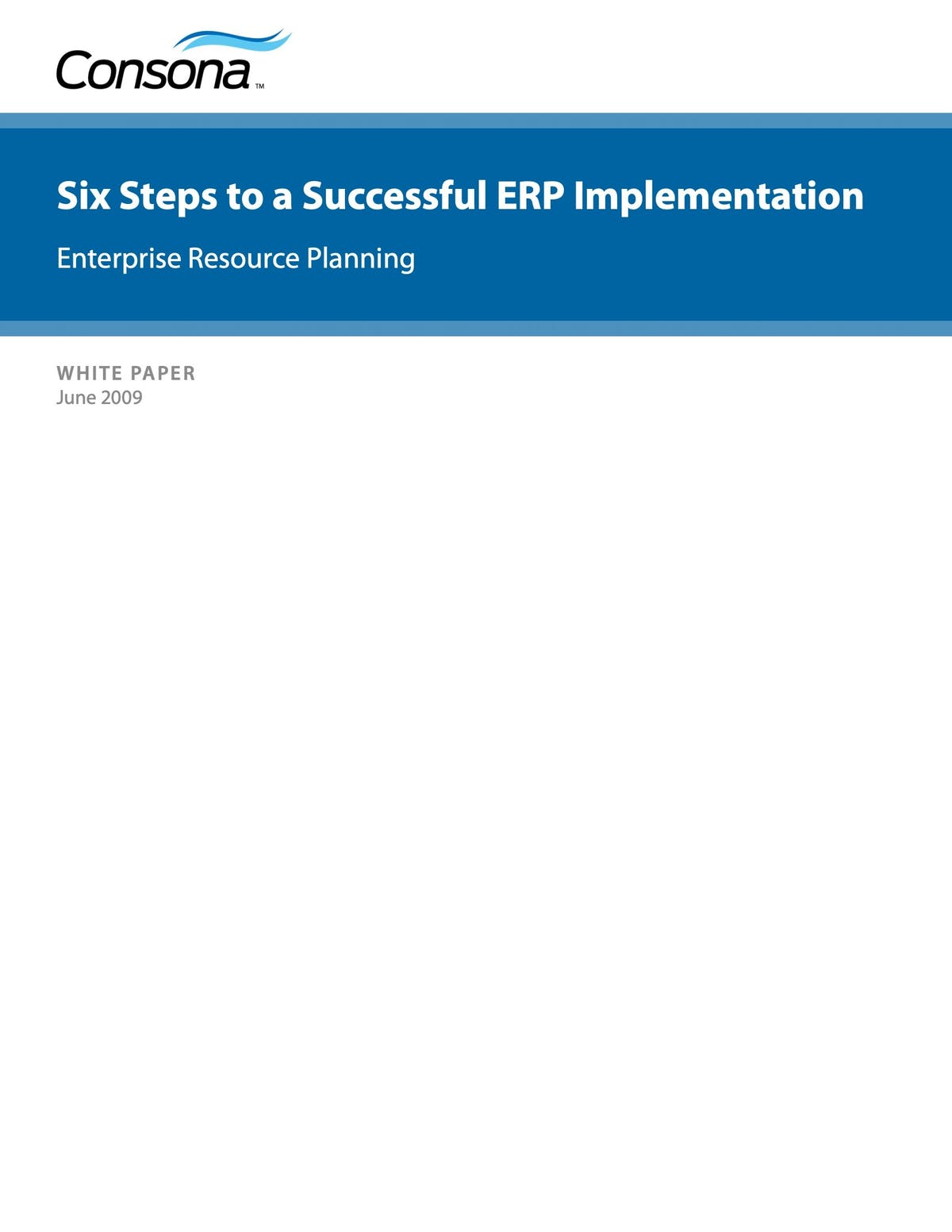 Intuitive ERP White Paper - Six Steps To A Successful ERP Implementation