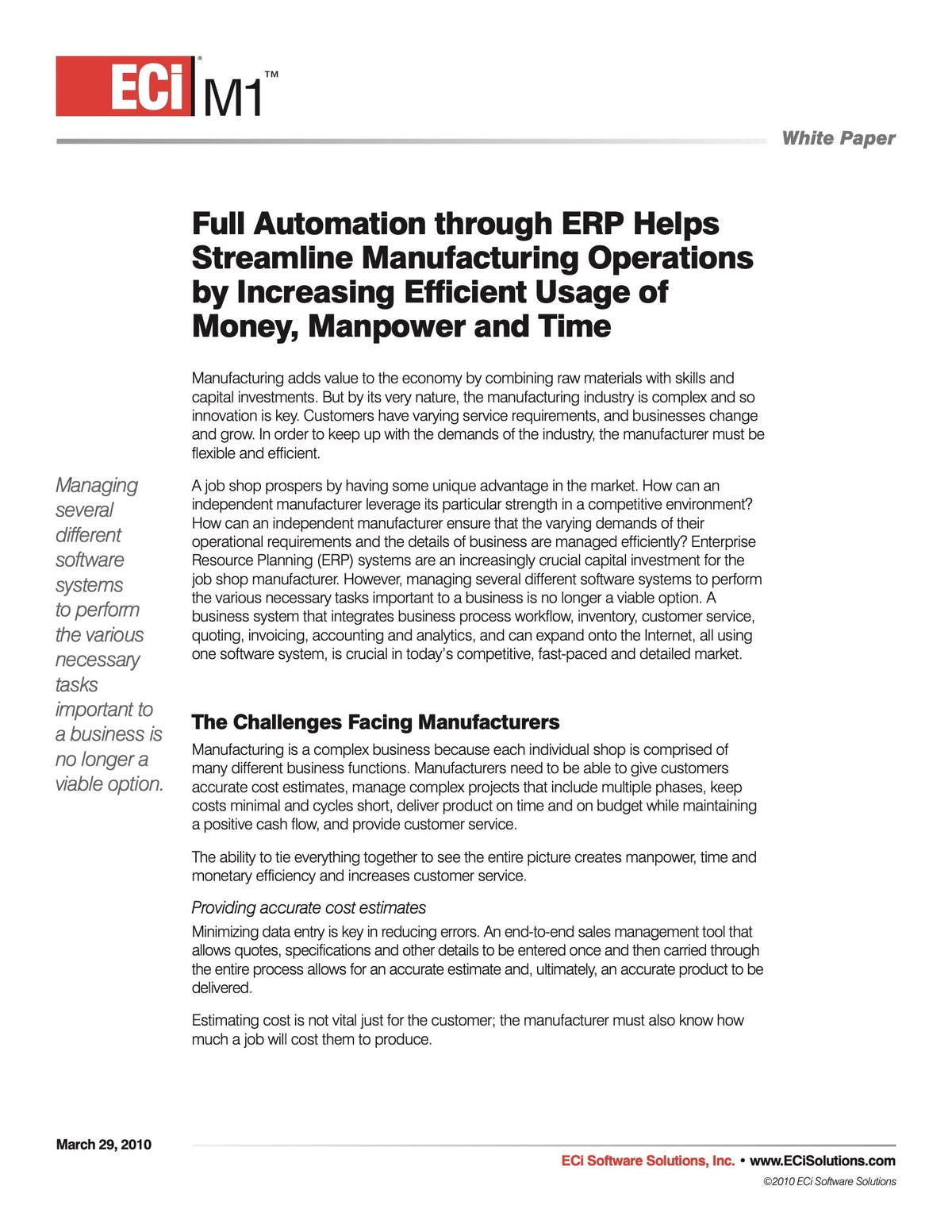 ECi M1 White Paper - Full Automation Through ERP Helps Streamline Manufacturing Operations