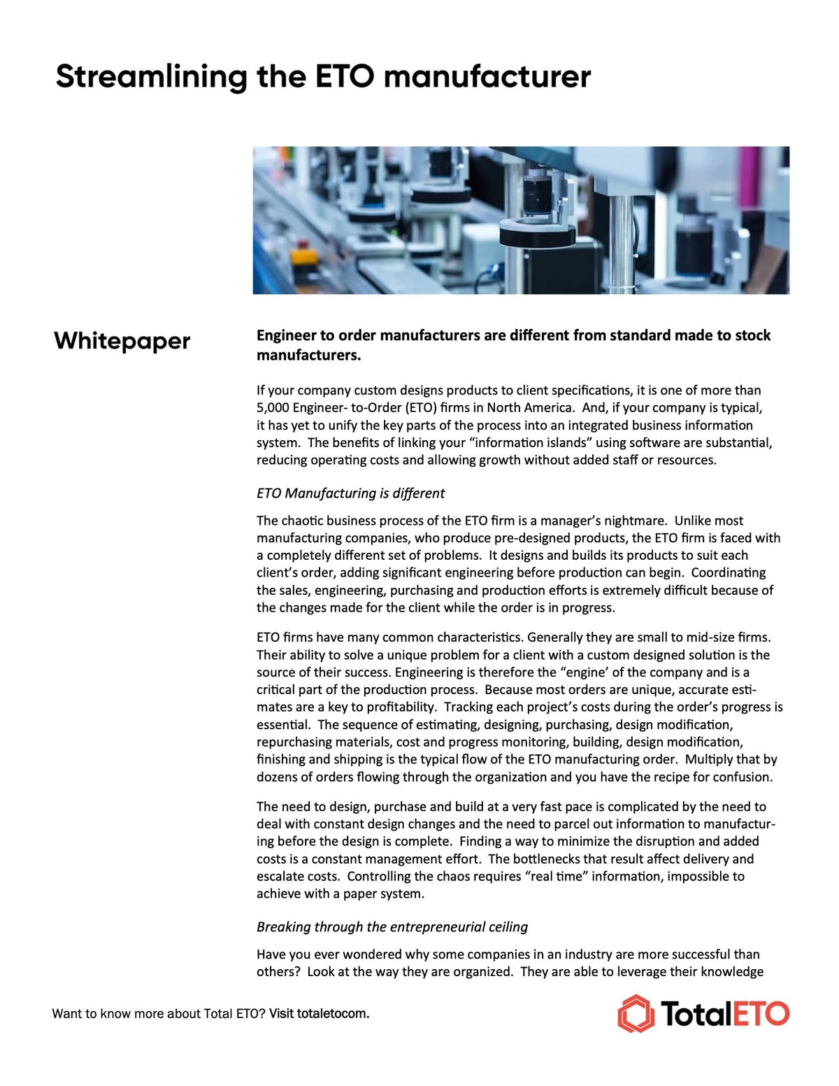 Total ETO White Paper - Streamlining the ETO Manufacturer