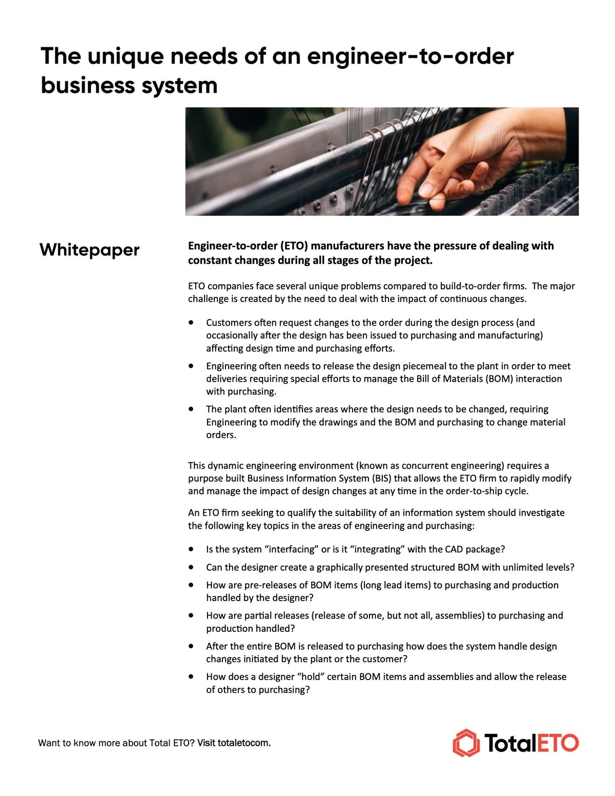 Total ETO White Paper - The Unique Needs of an Engineer to Order Business System