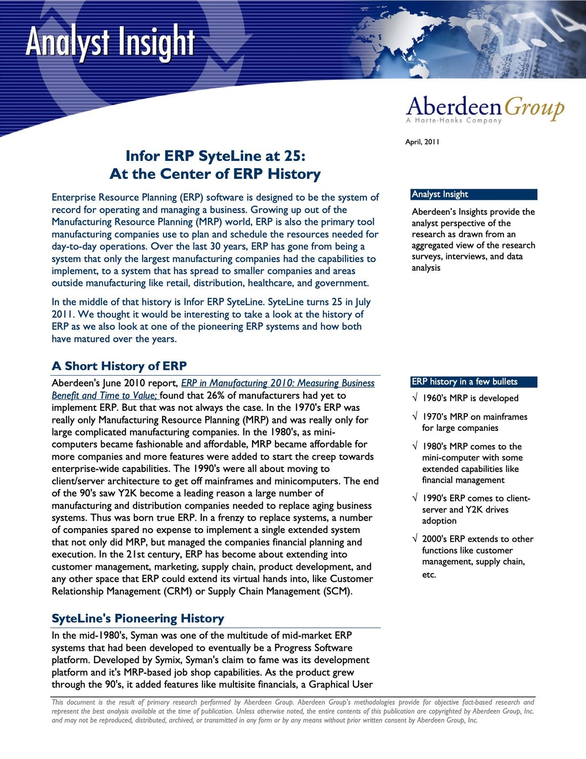 Infor CloudSuite Industrial (Syteline) White Paper - Infor ERP SyteLine at 25: At the Center of ERP History