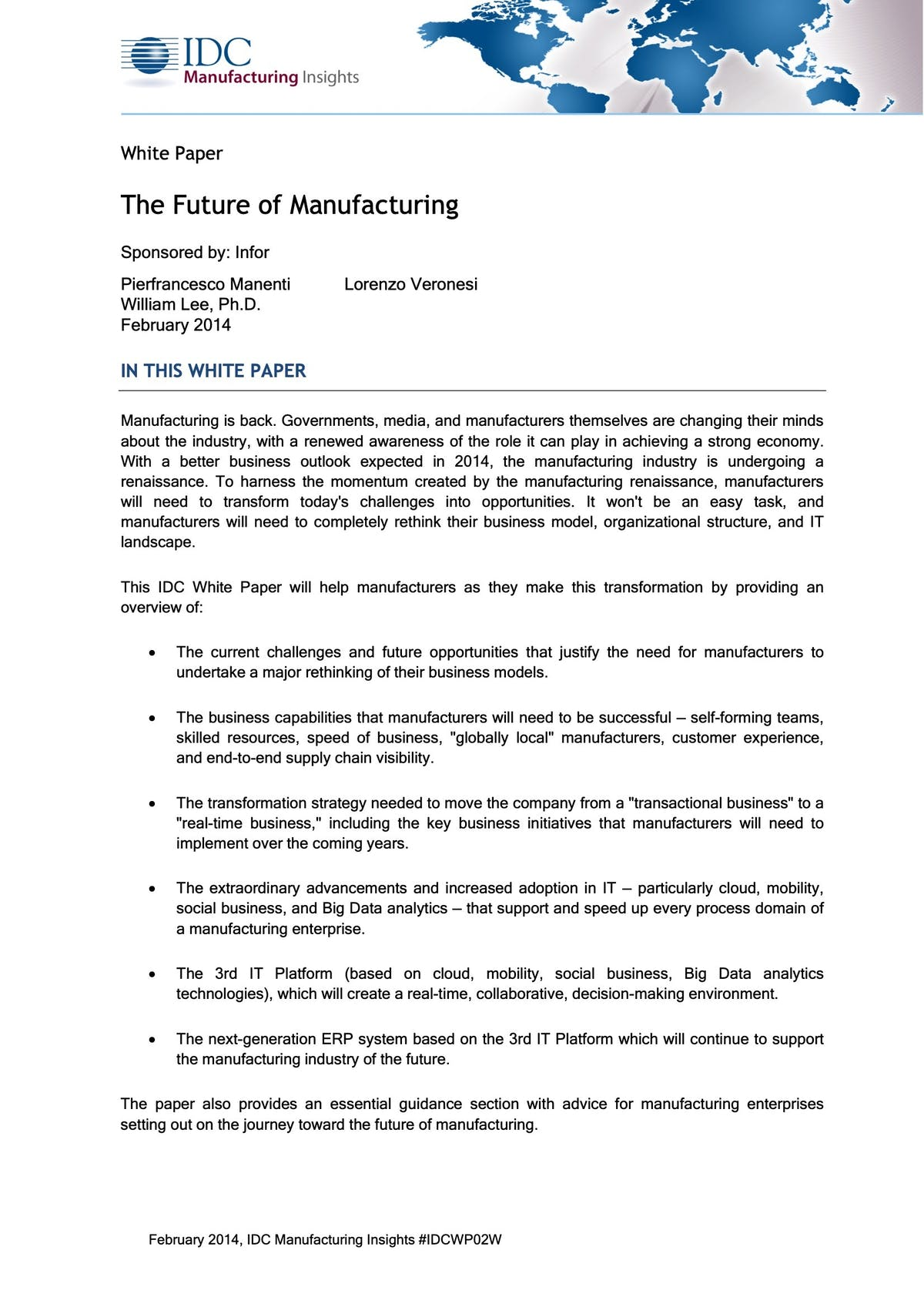 Infor CloudSuite Industrial (Syteline) White Paper - The Future of Manufacturing