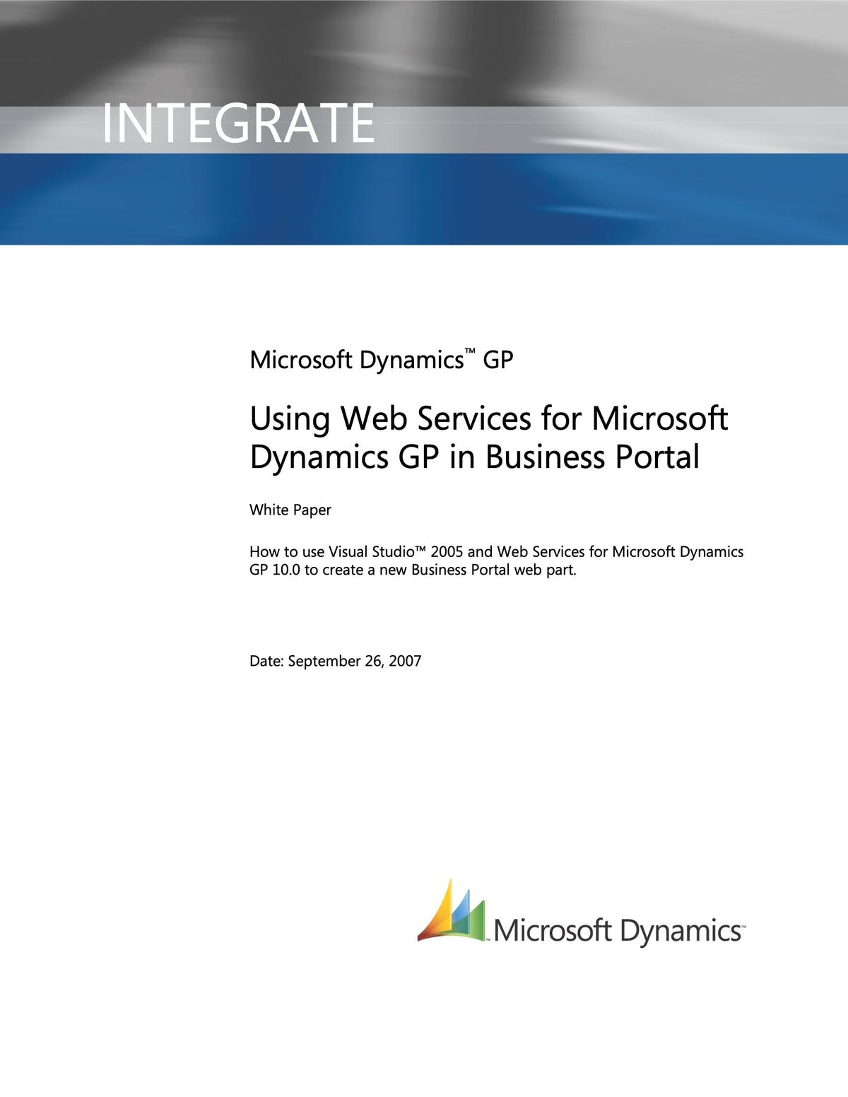Microsoft Dynamics GP White Paper - Using Web Services for Microsoft Dynamics GP in Business Portal