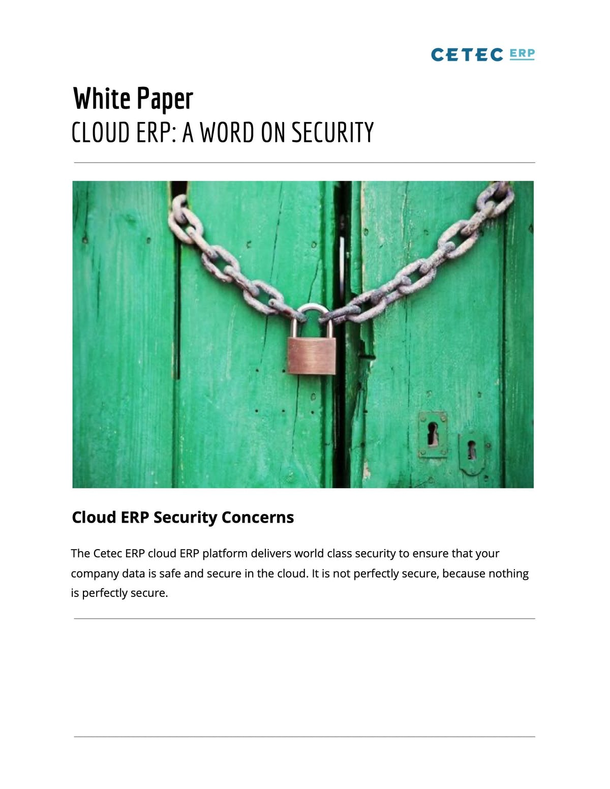 Cetec ERP White Paper - Cloud ERP: A Word on Security