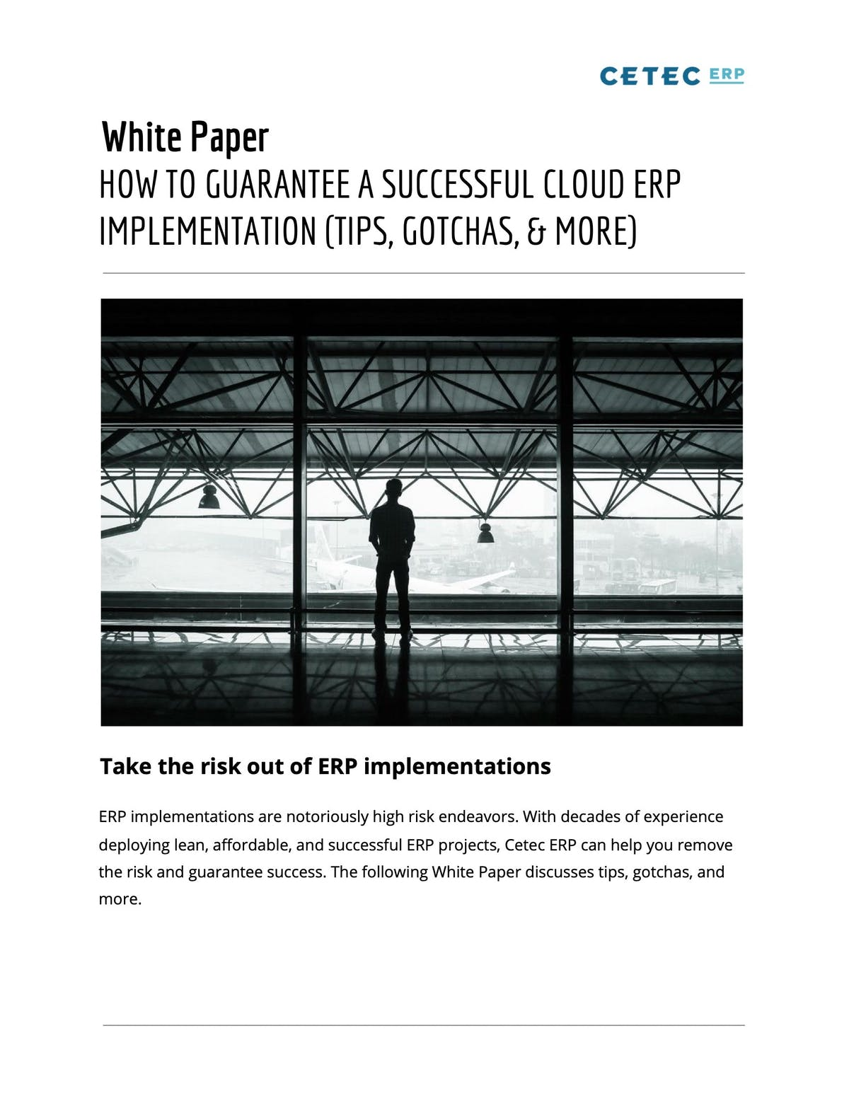 Cetec ERP White Paper - How to Guarantee a Successful Cloud ERP Implementation
