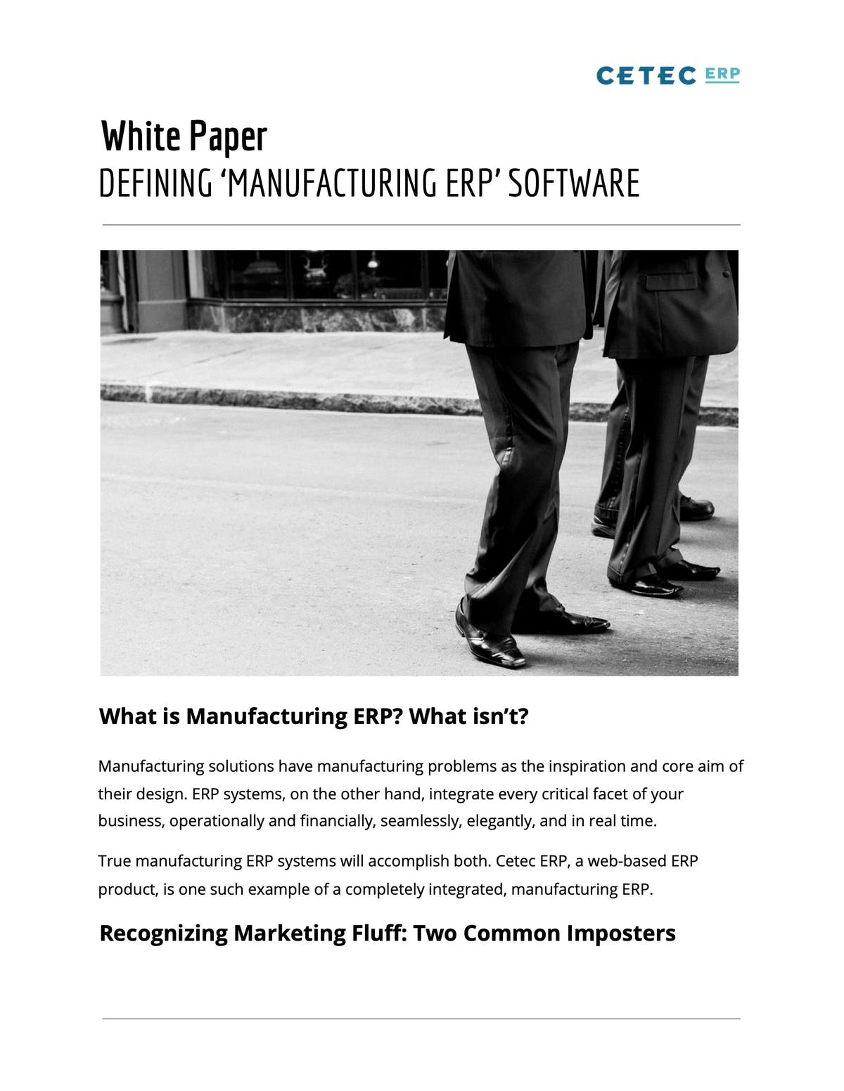 Cetec ERP White Paper - Defining 'Manufacturing ERP' Software