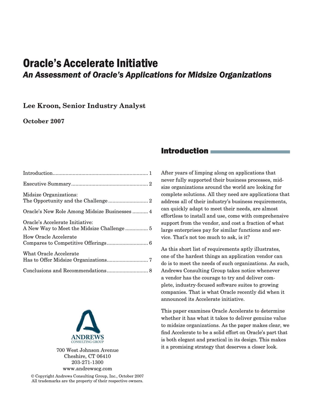 Oracle E-Business Suite White Paper - Oracle's Accelerate Initiative