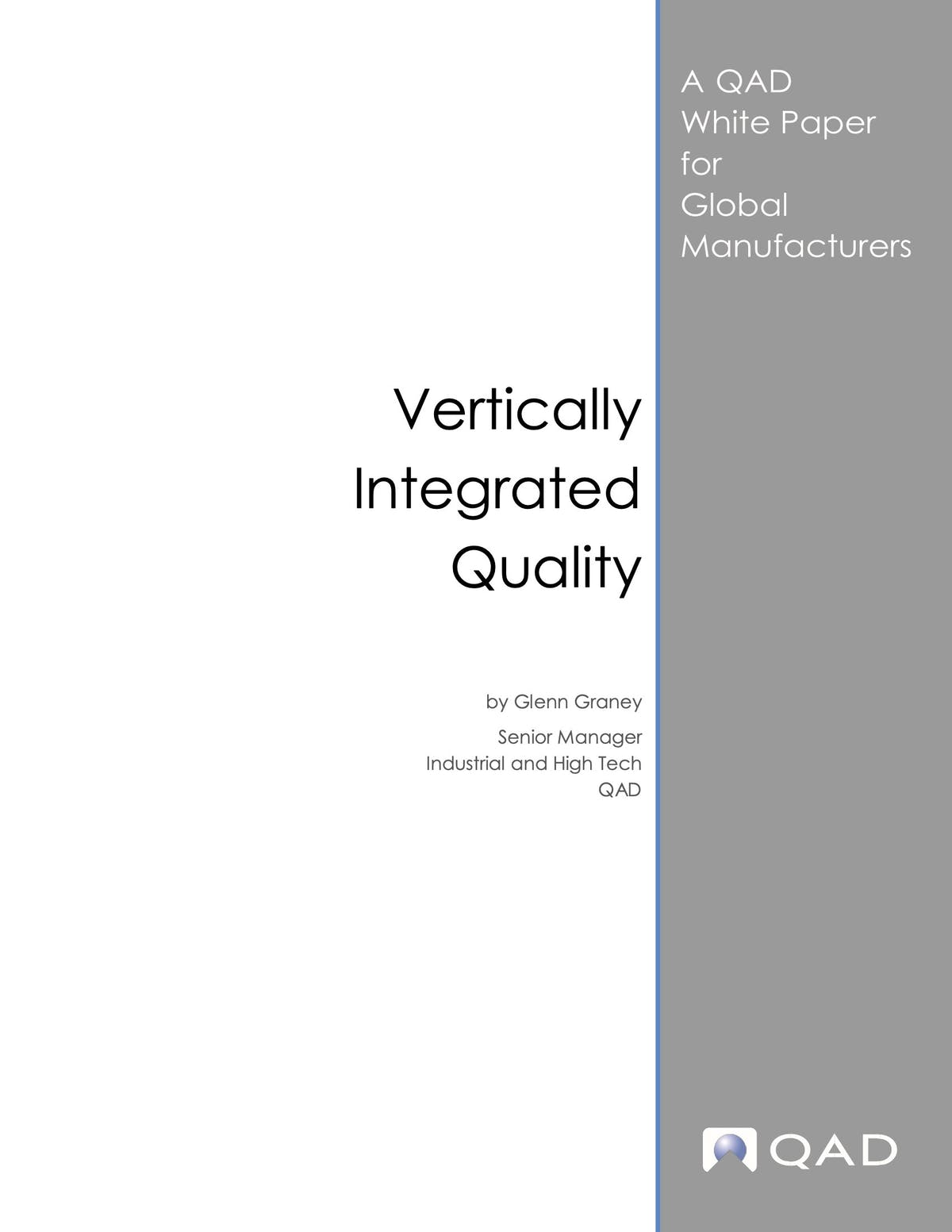 QAD Enterprise Applications White Paper - Vertically Integrated Quality