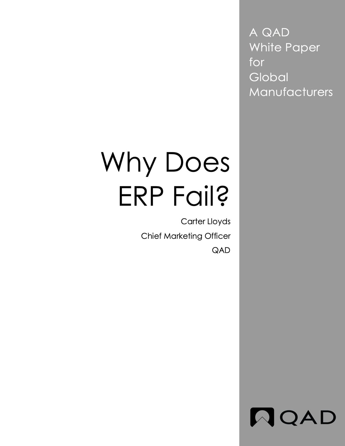 QAD Enterprise Applications White Paper - Why Does ERP Fail?